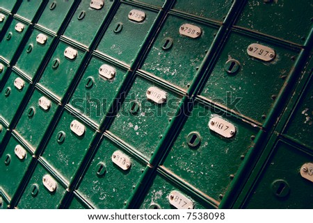 vintage mail boxes - stock photo