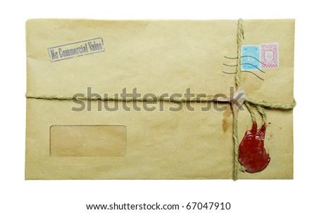 Vintage Mailing envelope isolated on white - stock photo