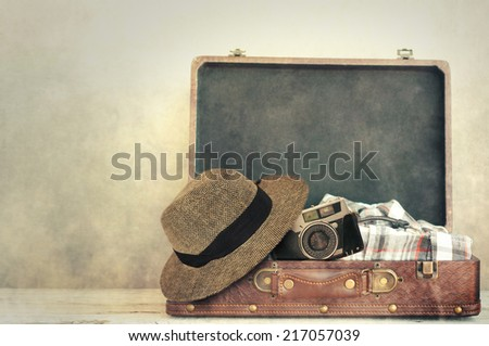 Vintage male travel set  - stock photo