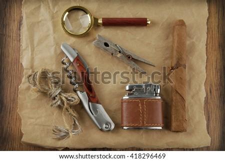 vintage man accessories  - stock photo