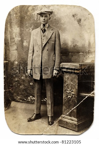 Vintage Man in Checked Suit - stock photo