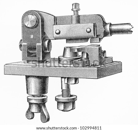 Vintage manual coins making machine from the end of 19th century - Picture from Meyers Lexikon book (written in German language) published in 1908 Leipzig - Germany. - stock photo