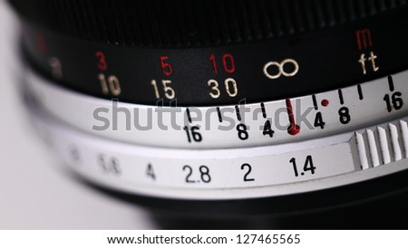 Vintage Manual Focus Lens for SLR (Single Lens Reflex) Camera. - stock photo