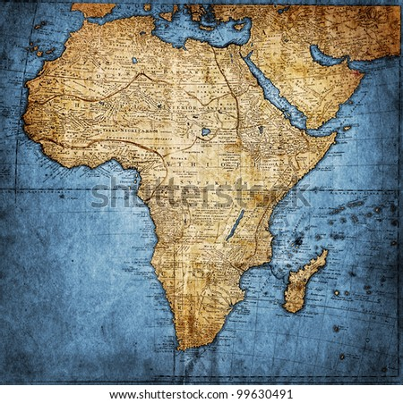 vintage map Africa - stock photo