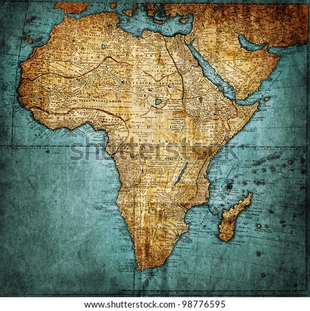 vintage map Africa ( mapmaker:HAAS Johann Matthias ( Hasio ) , publisher: Homannianorum H, 1737 Nuremberg Germany) - stock photo