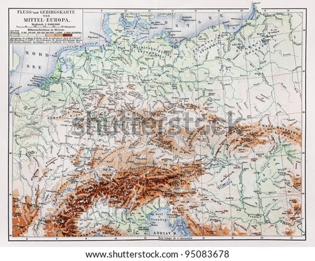Vintage map (from year 1900) representing the topography of Central Europe area - Picture from Meyers Lexicon books collection (written in German language ) published in 1906 , Germany.