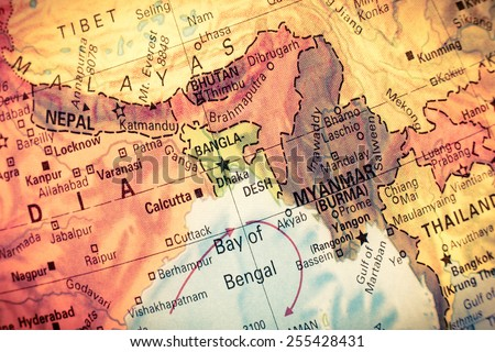 Vintage Map Myanmar,Bangladesh,  Close-up macro image of South East Asia  map . Selective focus on Bangladesh  - stock photo