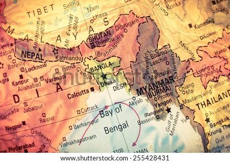 Vintage map myanmar bangladesh closeup macro image stock photo edit vintage map myanmarbangladesh close up macro image of south east asia map gumiabroncs Image collections
