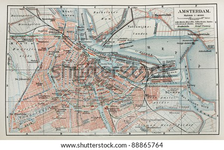 Vintage map of Amsterdam. Picture from the original Meyers Lexicon (written  German language) book edition 1905.