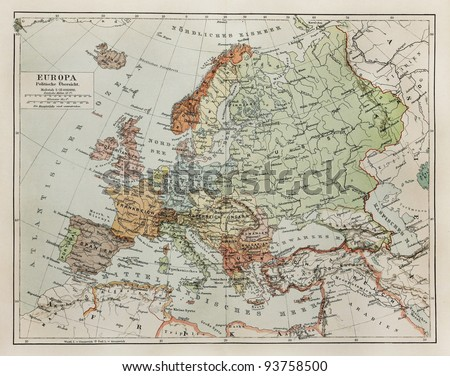 Vintage map of Europe at the end of 19th century - Picture from Meyers Lexicon books collection (written in German language ) published in 1908 in Germany. - stock photo