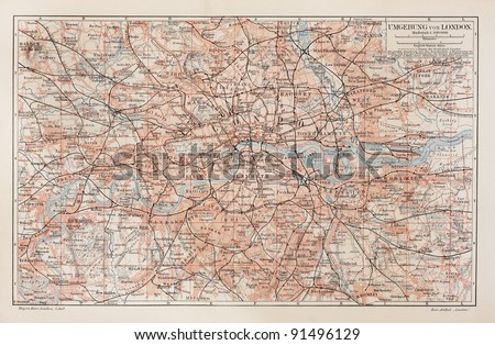 Vintage map of London and surroundings - Picture from Meyers Lexicon books collection (written in German language ) published in 1908. - stock photo