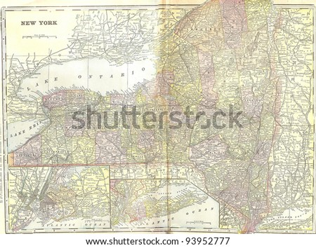 Vintage 1891 map of New York; out of copyright From old Atlas of the World - stock photo
