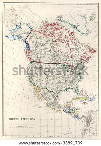 "Vintage map of North America with Alaska as ""Russian Territory"", printed in 1850."