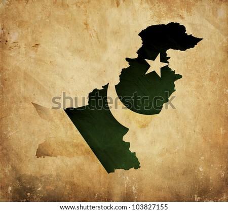 Vintage map of Pakistan on grunge paper - stock photo