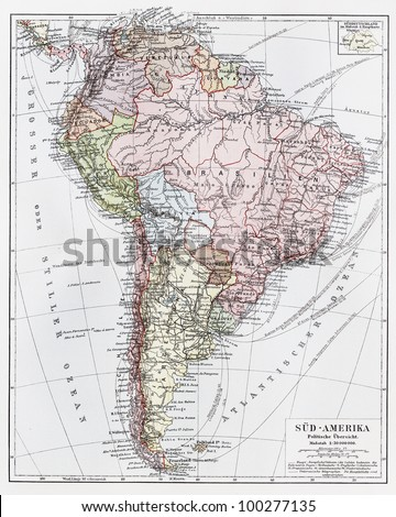 Vintage map of South America, political overview rom the end of 19th century - Picture from Meyers Lexicon books collection (written in German language) published in 1908, Germany.
