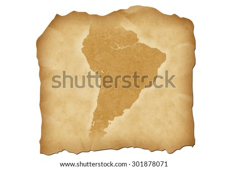 Vintage map of South America with antiqued edges. Isolated image illustration. - stock photo