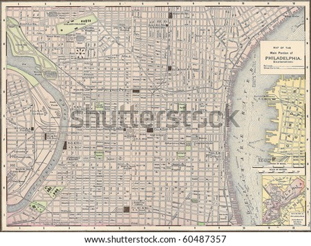 Vintage 1891 map of the city of Philadelphia, Pennsylvania; out of copyright - stock photo