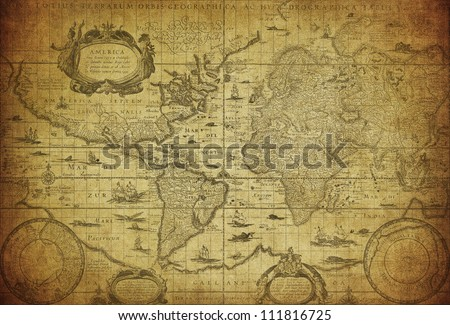 vintage map of the world 1635 - stock photo