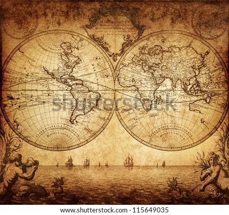 Old map stock images royalty free images vectors shutterstock vintage map of the world 1733 gumiabroncs