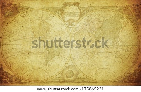 vintage map of the world 1744  - stock photo