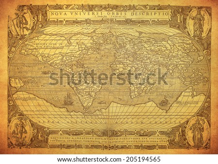 vintage map of the world 1602  - stock photo