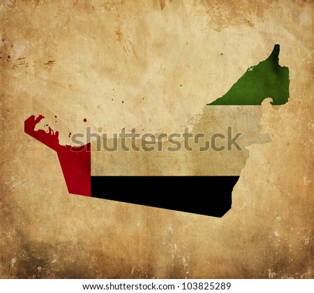 Vintage map of United Arab Emirates on grunge paper - stock photo