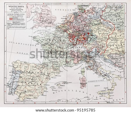 vintage map of west europe and german education centers at the of 19th century picture