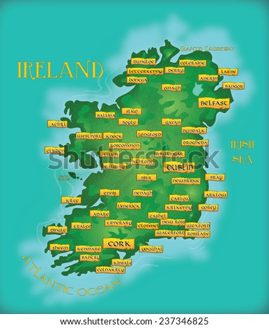 Vintage Map Or Ireland. A Classic map of ireland with all the main city and town locations tagged. - stock photo