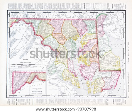 Vintage maps of the states of Maryland and Delaware, United States, 1900 - stock photo