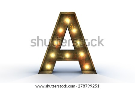Vintage marquee light A alphabet sign, typography isolated on white background - stock photo