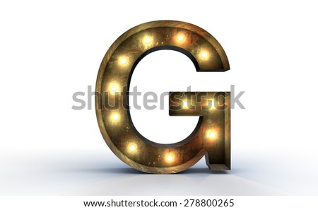 Vintage marquee light G alphabet sign, typography isolated on white background - stock photo