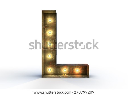 Vintage marquee light L alphabet sign, typography isolated on white background - stock photo