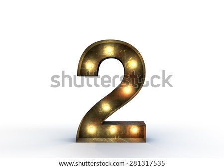 Vintage marquee light number 2 sign, typography isolated on white background - stock photo