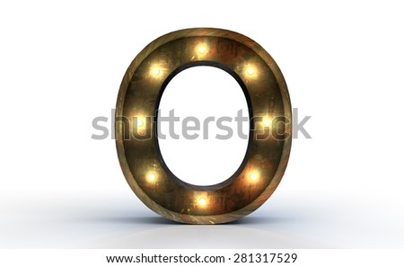 Vintage marquee light O alphabet sign, typography isolated on white background - stock photo