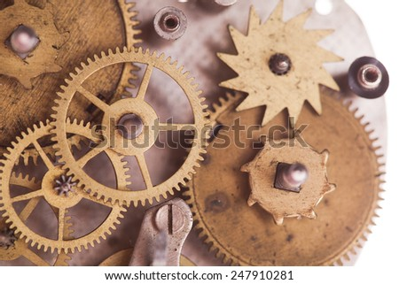 Vintage mechanical watches mechanism, close up gears - stock photo