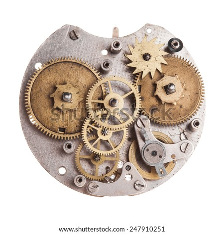 Vintage mechanical watches mechanism isolated on white - stock photo