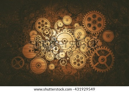 Vintage Mechanics Abstract Background Illustration. 3D Render.