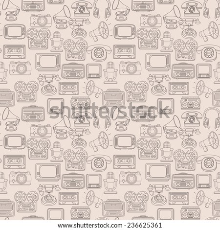 Vintage media gadgets outline seamless pattern with vintage technology devices  illustration - stock photo