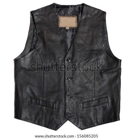 Vintage men's leather waistcoat on a white background - stock photo