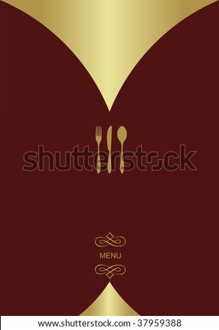 Vintage Menu Background. Food and restaurant design with golden cutlery silhouette.