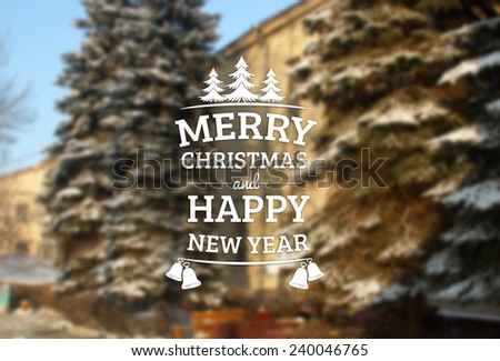 Vintage Merry Christmas and Happy New Year Greeting Card - stock photo