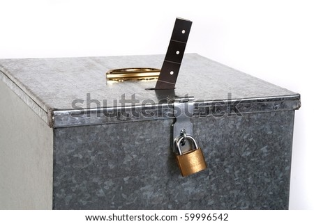Vintage metal ballot box with padlock ticket voting - stock photo