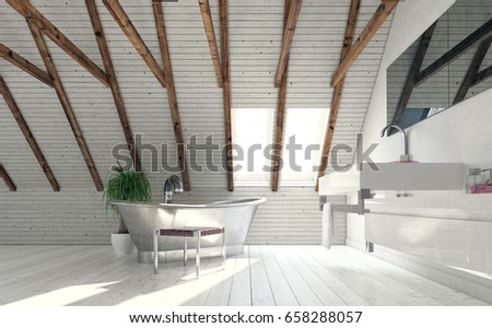 Vintage Metal Bath In Attic Bathroom Designed In Minimalist Style   Low  Angle View Against Bright