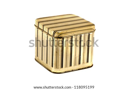 vintage metal box kitchen box for food isolated on white