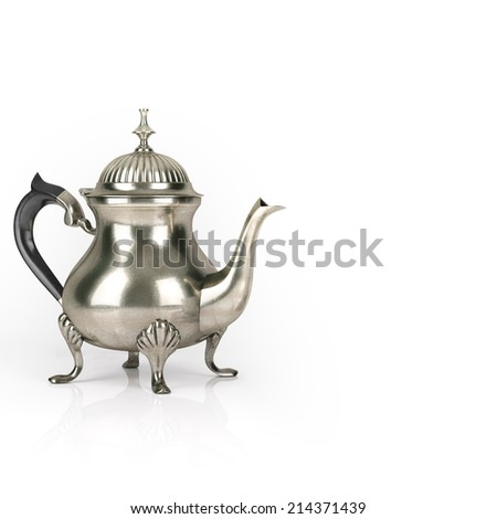 Vintage Metal Coffee Pot On White Background - stock photo