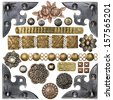Vintage metal corners, nails, buttons and other design elements - stock photo