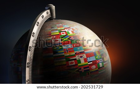 vintage metal desktop globe with nation flags on dark abstract background - stock photo
