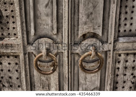 Vintage metal door.old iron door