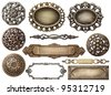 Vintage metal frames, buttons, isolated. - stock photo