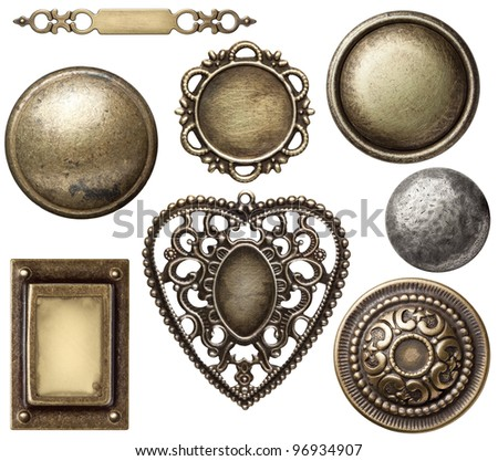 vintage metal frames buttons isolated - Metal Picture Frames